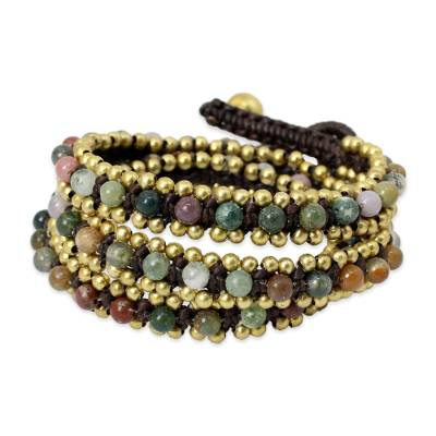 Hand Knotted Thai Agate Bracelet with Brass Beads