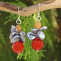 Cultured pearl and carnelian beaded earrings, 'Exotic Muse' - Grey Pearl and Carnelian Beaded Earrings