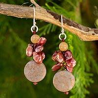 Cultured pearl and jasper beaded earrings, 'Exotic Red Muse' - Handcrafted Rose Pearl Beaded Dangle Earrings