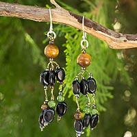 Onyx and tiger's eye beaded earrings, 'Confetti Glam' - Onyx Tiger's Eye and Quartz Handmade Beaded Earrings