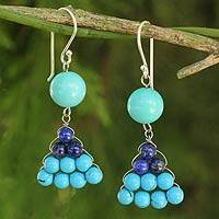 Lapis lazuli dangle earrings, 'Falling Leaves' - Hand Crafted Thai Lapis Lazuli and Calcite Dangle Earrings