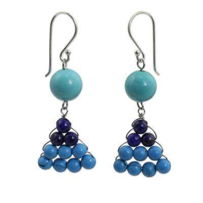 Hand Crafted Thai Lapis Lazuli and Calcite Dangle Earrings