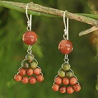 Unakite dangle earrings, 'Falling Leaves' - Hand Crafted Thai Unakite Dangle Earrings