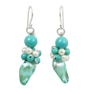 Artisan Crafted Pearl and Blue Calcite Earrings