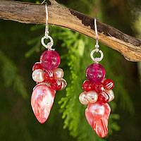 Cultured pearl cluster earrings, 'Rose Glow' - Handcrafted Pink Biwa Pearl and Red Quartz Earrings