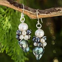 Cultured pearl beaded earrings, 'Bold Gray'
