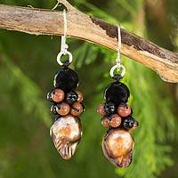 Cultured pearl and onyx beaded earrings, 'Bold Copper' - Artisan Crafted Earrings Pearl and Onyx Beaded Jewelry