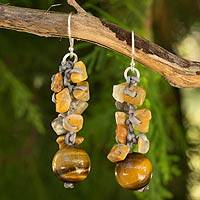 Tiger's eye beaded earrings, 'Yellow Glam' - Tiger's Eye and Jasper Earrings Thai Beaded Jewelry