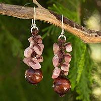 Tiger's eye and rhodochrosite beaded earrings, 'Rose Glam' - Fair Trade Handcrafted Gemstone Beaded Earrings