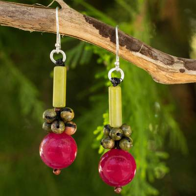 Quartz dangle earrings, 'Scenic Color' - Thai Handmade Unakite and Serpentine Beaded Earrings