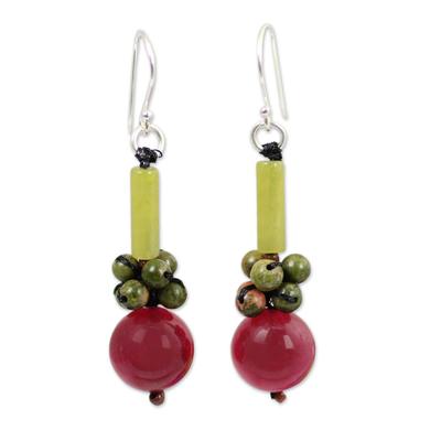 Quartz dangle earrings, 'Scenic Color' - Thai Handmade Unakite and Serpentine Beaded Earrings