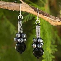 Cultured pearl and onyx dangle earrings, 'Scenic Black' - Thai Handmade Cultured Pearl and Onyx Beaded Earrings