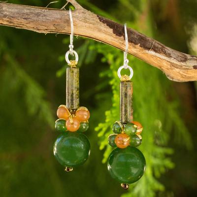 Unakite dangle earrings, 'Scenic Green' - Thai Handmade Unakite and Quartz Beaded Earrings