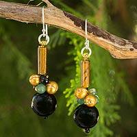 Onyx and tiger's eye dangle earrings, 'Scenic Color' - Thai Handmade Onyx and Tiger's Eye Beaded Earrings