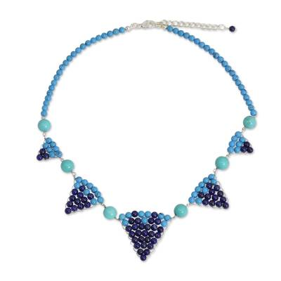 Hand Crafted Thai Lapis Lazuli and Calcite Necklace