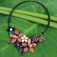 Cultured pearl and onyx flower choker, 'Ginger Bouquet' - Unique Women's Pearl and Onyx Choker