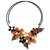 Cultured pearl and onyx flower choker, 'Ginger Bouquet' - Fair Trade Floral Pearl and Onyx Choker (image 2a) thumbail