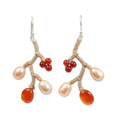 Thai Handcrafted Pearl and Carnelian Dangle Earrings