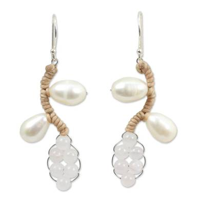 Handcrafted Pearl and Quartz Earrings