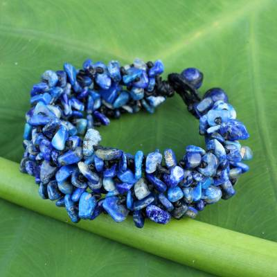 Lapis lazuli beaded bracelet, 'Azure Flow' - Fair Trade Handcrafted Lapis Lazuli Beaded Bracelet