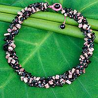 Onyx and rhodochrosite beaded necklace, 'Pink Black Flow'