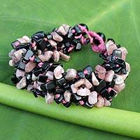 Onyx and rhodochrosite beaded bracelet, 'Pink Black Flow' - Artisan Crafted Onyx and Rhodochrosite Bracelet