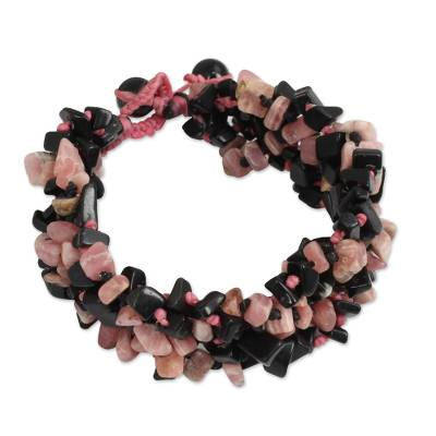 Artisan Crafted Onyx and Rhodochrosite Bracelet