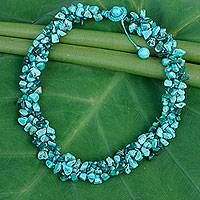 Malachite beaded necklace, 'Blue Green Flow' - Malachite Calcite Necklace Handcrafted Jewelry