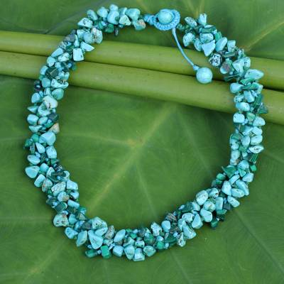 Novica Calcite and cultured pearl beaded necklace, Blue Runway Chic