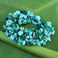 Malachite beaded bracelet, 'Blue Green Flow' - Malachite Calcite Bracelet Handcrafted Jewelry