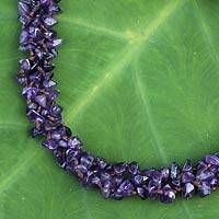 Amethyst beaded necklace, 'Lilac Flow' - Thai Amethyst Necklace Handcrafted Jewelry