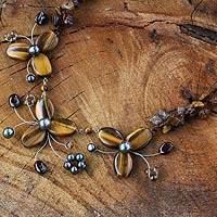 Cultured pearl and tiger's eye flower necklace, 'Golden Feast'