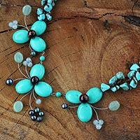 Multi-gemstone flower necklace,