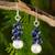 Lapis lazuli and cultured pearl cluster earrings, 'Blue Sonata' - Handmade Cultured Pearl and Lapis Lazuli Cluster Earrings thumbail