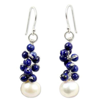 Handmade Cultured Pearl and Lapis Lazuli Cluster Earrings