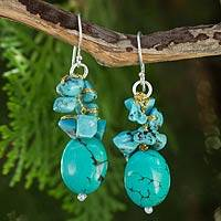 Gemstone cluster earrings, 'Aqua Feast' - Handmade Thai Calcite Cluster Earrings