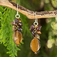 Tiger's eye and garnet cluster earrings, 'Golden Feast' - Handmade Thai Tiger's Eye and Garnet Cluster Earrings