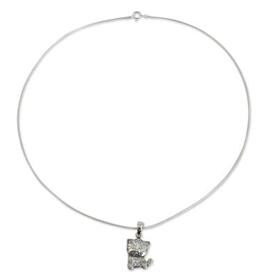 Fair Trade Thai Filigree Sterling Silver Cat Pendant Necklace
