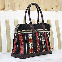 Leather accent cotton handbag, 'Naga Midnight' - Leather Accent Tribal Cotton Shoulder Bag