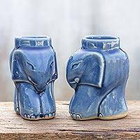 Celadon ceramic candleholders, 'Cozy Sapphire Elephants' (pair) - Artisan Crafted Celadon Ceramic Candleholders (pair)