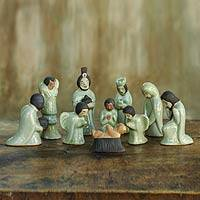 Celadon ceramic nativity scene, 'Siam Holy Birth in Green' (set of 10)
