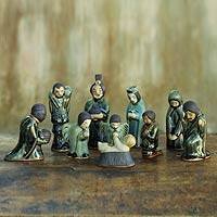 Celadon ceramic nativity scene, 'Iridescent Holy Birth' (10 pieces) - Unique 10-piece Ceramic Nativity Scene