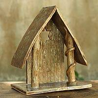 Ceramic statuette, 'Nativity Cottage II' - Fair Trade Nativity Scene Ceramic Sculpture
