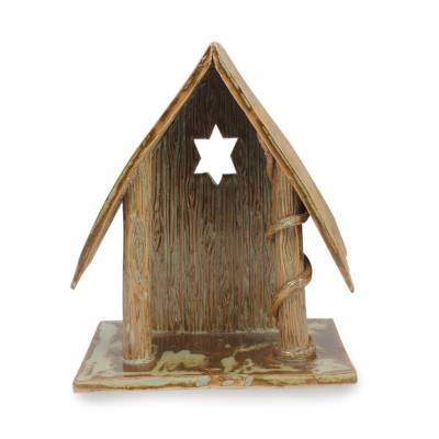 Handcrafted Ceramic Cottage for Nativity Scene