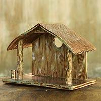 Ceramic statuette, 'Nativity Cottage' - Ceramic Cottage for Nativity Scene