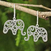 Sterling silver dangle earrings, 'Elephant Arabesque' - Handcrafted Sterling Silver Thai Elephant Earrings