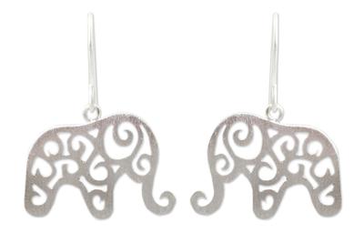Sterling silver dangle earrings, 'Elephant Arabesque' - Handcrafted Sterling Silver Thai Elephant Earrings