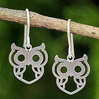 Sterling silver dangle earrings, 'Perky Owl' - Artisan Crafted Silver Owl Earrings