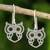 Sterling silver dangle earrings, 'Perky Owl' - Artisan Crafted Silver Owl Earrings thumbail
