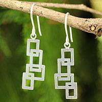 Sterling silver dangle earrings, 'Open Windows' - Artisan Crafted Silver Earrings